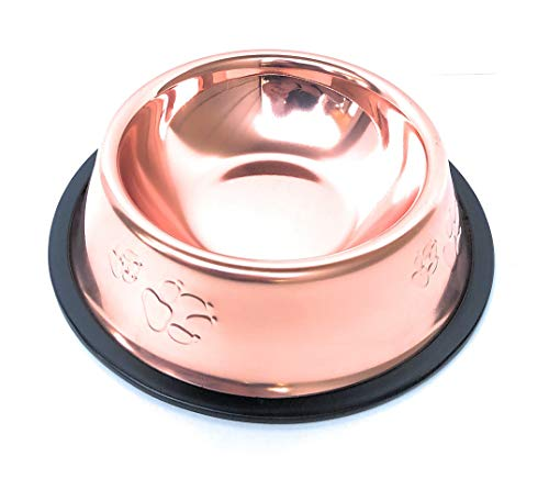 Mawii Pet | Bowl Premium Stainless Steel | Non-Skid | No Spill | Food and Water Feeder for Dogs, Cats, Puppies or Any Pet | Rose Gold | Copper | Bronze | 18oz