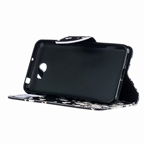 LEMORRY Huawei Y5II (Huawei Y5 2, Huawei Honor 5 Play) Custodia Pelle Cuoio Flip Portafoglio Borsa Sottile Fit Bumper Protettivo Magnetico Chiusura Standing Card Slot Morbido Silicone TPU Case Cover C
