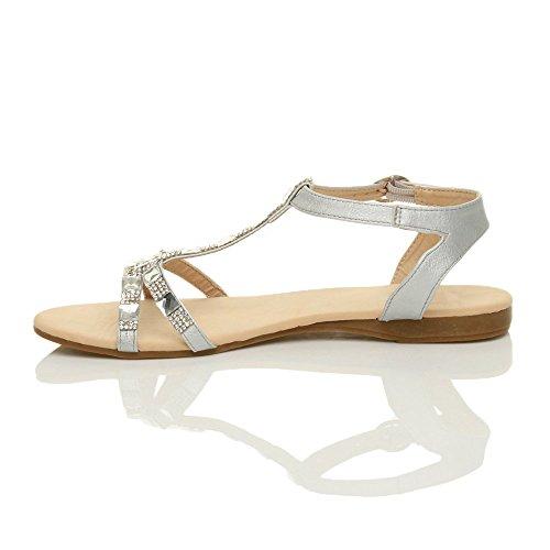 Size Silver Summer Ajvani T Diamante Sandals Bar Women Flat 08qxBT