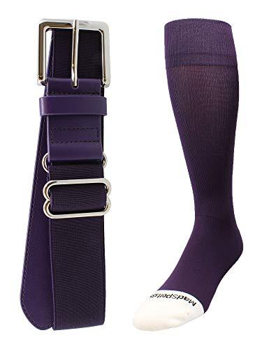 MadSportsStuff Pro Line Baseball Socks and Belt Combo (Purple, Large)