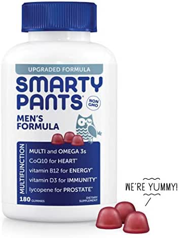 SmartyPants Men's Formula Daily Gummy Vitamins: Gluten Free, Multivitamin & Omega 3 Fish Oil (DHA/EPA), Methyl B12, Vitamin D3, Vitamin B6, 180 Count (30 Day Supply) - Packaging May Vary