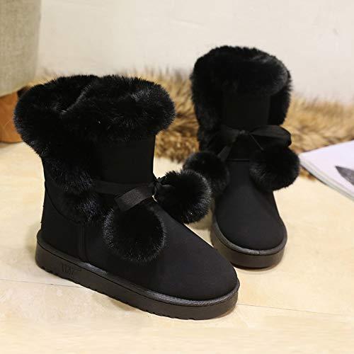 Botas Pelo Antideslizante Nieve Moda Bola Suede Invierno Cintura Damas Casuales Desnudas Mujer Lana Cálido Black De Zapatos Kuki Lindo 8EZv7qOw8
