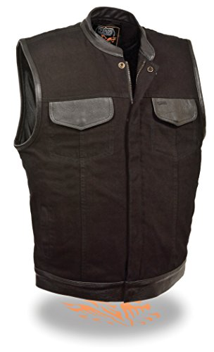 The Ultimate One Stop Shop for All Club Style Zipper Front Vests - All Varieties of Club Cut Vests Leather & Denim (4X - Big, Leather Trim) by Milwaukee