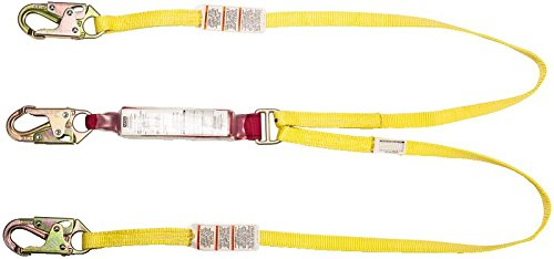 Under Arrest Pouch - MSA 10088267 Sure-Stop Web Energy-Absorbing Lanyard with 36C Harness Connection and Two 36C Anchorage Connection, Fixed Twin-Leg, 6' Length