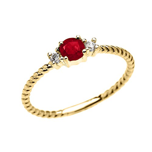 10k Yellow Gold Dainty Solitaire Ruby and White Topaz Rope Design Stackable/Proposal Ring (Size 6) (Claddagh Yellow Ruby Gold Ring)