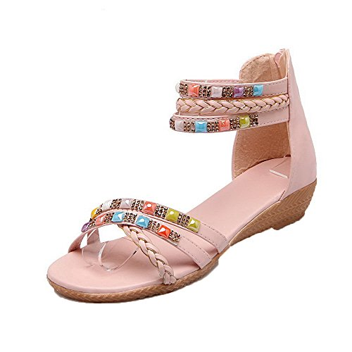 AalarDom Womens Zipper Open-Toe Low-Heels Pu Solid Sandals Pink TpkD4thp