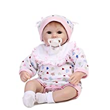 16inch Reborn Baby Doll, Decdeal Baby Girl Toy Silicone Body Lifelike Cute Baby Toy