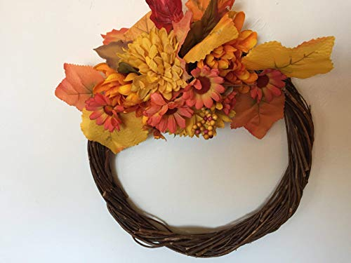 Chrysanthemum and Sunflower wreath, Large gold and orange leaves and berries, Willow ring, Centerpiece, Window or wall, Ready to ship!!, Interior or exterior door, Cemetery, Mausoleum
