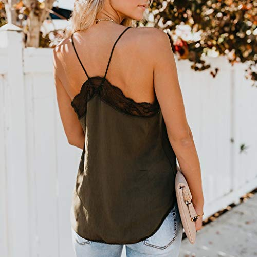 WUAI Tank Tops for Women, Summer Lace Sleeveless V Neck Halter Spaghetti Cami Tops Blouse(Army Green,Small) by WUAI (Image #2)