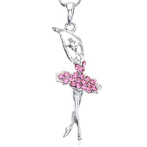 Soulbreezecollection Light Pink Dancing Ballerina Dancer Ballet Pendant Necklace Charm (Pink)