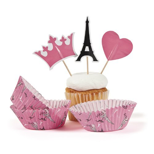 Perfectly Paris Baking Cups With Picks (100 pc) by Oriental Trading