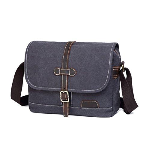 Bag Simple Men's Bag Outdoor Retro Shoulder Casual Canvas Gray khaki aa60Iq
