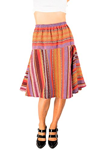 Striped Woven Skirt (ThaiOnline4u Knee Length Skirts (Medium, Multi))