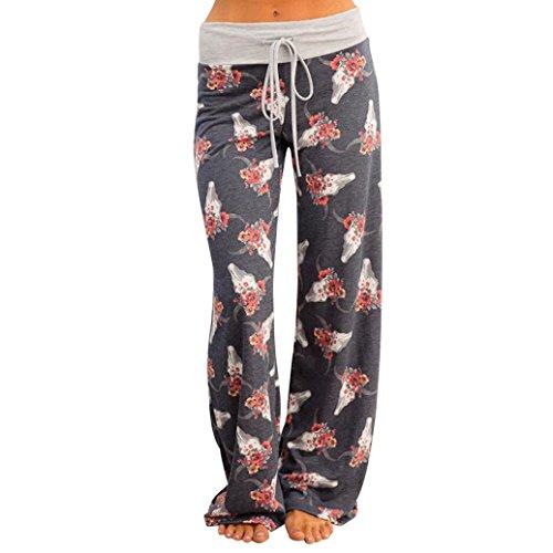 Srogem Womens Pants Womens Cotton Lounge Pants Summer Boho Printed Pajama Yoga Palazzo Loose Sweatpants (M, Gray Floral)