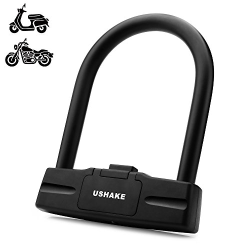 UShake Bicycles U Lock, Heavy Duty Bike Scooter Motorcycles Combination Lock Combo Gate Lock for Anti Theft (Black 10mm chackle) (Black 14mm chackle) (Best Lock For Vespa)