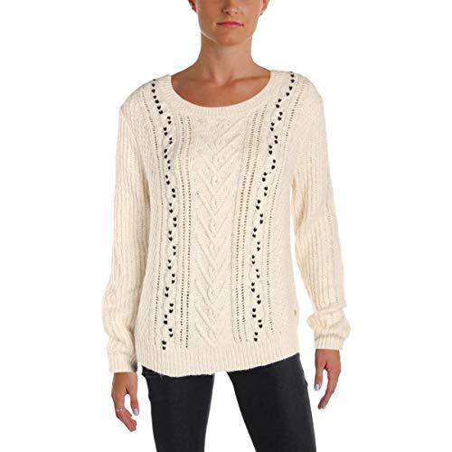 Scotch & Soda Maison Scotch Women's Crew Neck Cable Knit Sweater, Off White, X-Small (Scotch And Soda Sweater)
