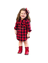 TLoowy-Clearance Toddler Infant Baby Girls Summer Clothes Plaid Print Shirt Dresses with Belt Cotton Casual Outfits
