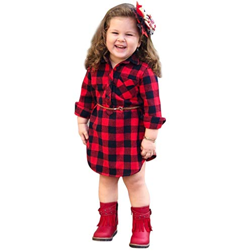 Qpika Toddler Infant Baby Fashion Girls Long Sleeve Plaid Print Princess Dress + Belt 2PCs Set