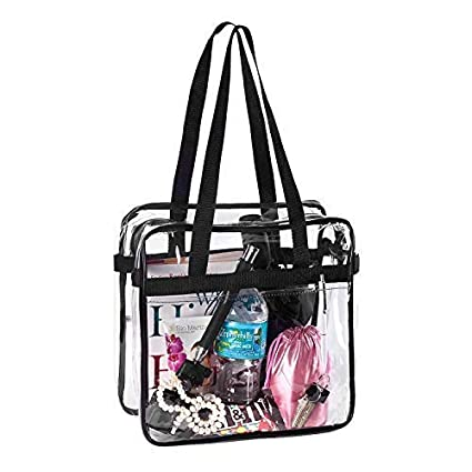 ea61097fa3a7 Bags for Less Clear Tote Stadium Approved with Handles And Zipper 12 inch x  12 inch x 6 inch