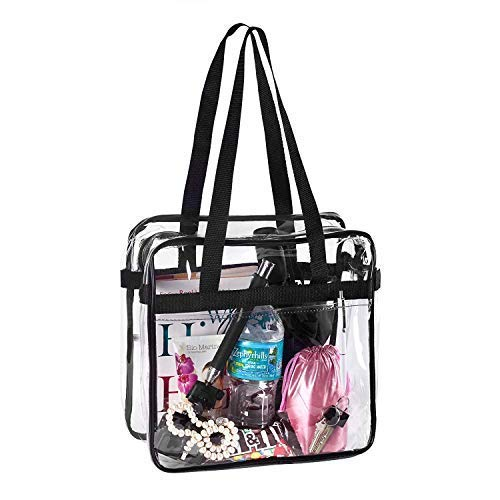 BAGS for LESS Clear Tote Stadium Approved with Handle and Zipper - 12x12x6