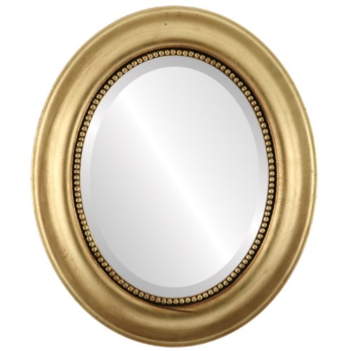Oval Beveled Wall Mirror for Home Decor - Heritage Style - Gold Leaf - 35x45 outside dimensions ()
