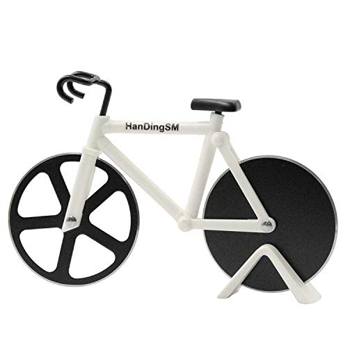 Bicycle Pizza Cutter Wheel,Bike Pizza Slicer Dual Stainless Steel Non-stick Cutting Wheels With a Stand best for Holiday Vacation Housewarming Cool Kitchen Gadget Cool Mens Gift