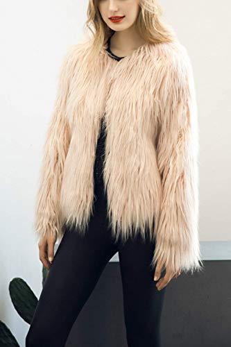 Cute Invernali Moda Di Monocromo Giacca Imbottita Donna Pelliccia Elegante Lunga Unico Giubotto Cappotto Giaccone Pink Manica Lanoso Party Chic xtXSwOt1