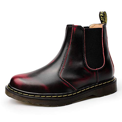 MARITONY Chelsea Boots for Women, Dress Fashion Winter Fur Lined Work Combat Waterproof Leather Ankle Booties for Men, Red Size 9.5 Women/8 ()