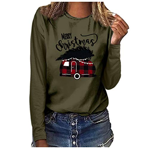 Blouses for Women Fashion 2019 Crewneck Christmas Printed Soft Tops(Army Green,S) (Best Bid Sniper 2019)