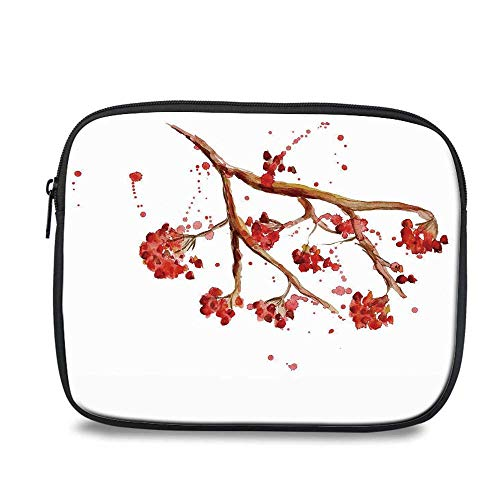 Rowan Durable iPad Bag,Rowan Berry Branch with Watercolor Splashes Artistic Floral Abstract Display for iPad,10.6