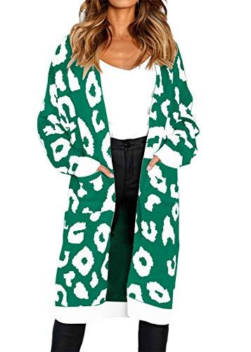 Turtleneck Knitting Patterns - FAFOFA Plus Size Long Knit Cardigan Outwear for Women Leopard Print Long Sleeve Open Front Sweater Coat Green XL