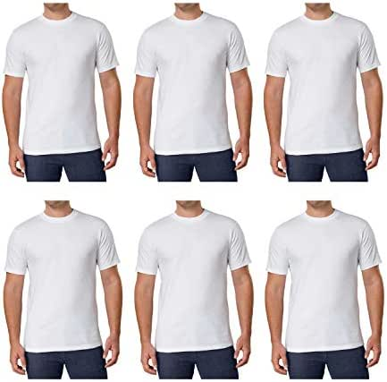 Kirkland Signature Men's Crew Neck Tee 100% Combed Heavyweight Cotton T-Shirts (Pack of 6)