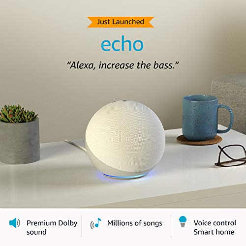 Echo (4th Gen, 2020 release)   Premium sound powered by Dolby and Alexa (White)