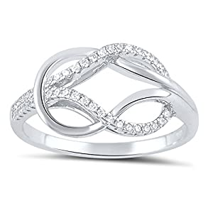 Sterling Silver Simulated Diamond Love knot Ring - Size 7