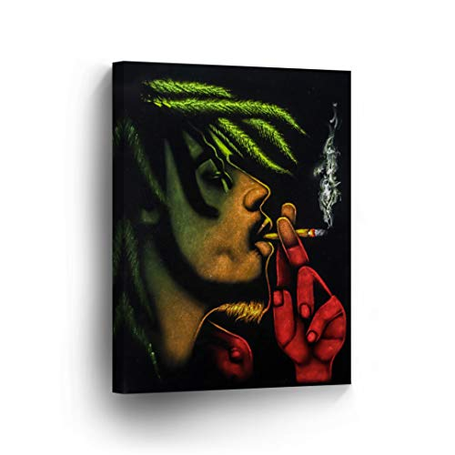 SmileArtDesign Smoke Wall Art Canvas Print Bob Marley Smoking a Joint Get High on Weed Home Decor Decorative Artwork Gallery Wrapped Wood Stretched Ready to Hang -%100 Handmade in The USA - 12x8
