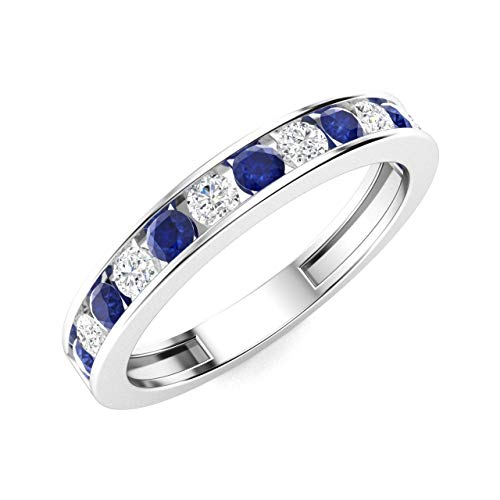 Diamondere Natural and Certified Blue Sapphire and Diamond Wedding Ring in 14K White Gold | 0.54 Carat Half Eternity Stackable Band for Women, US Size 6