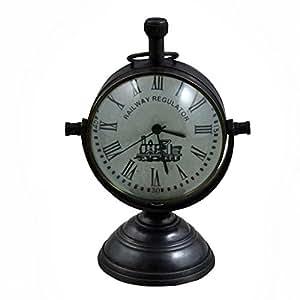 Retro vintage antiguo ronda metal mesa reloj regulador ferroviario, 4 pulgadas: Amazon.es: Hogar