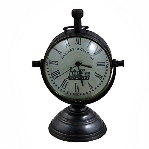RoyaltyRoute Retro Vintage Antique Round Metal Table Desk Clock Railway Regulator Home Decorative Gift Idea, 4 Inches