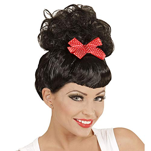 Widmann 01848 - rockabilly Pin Up Girl Black Wig With Red Bow -