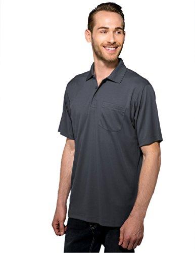 Tri-Mountain Men's 5 oz Moisture Wicking Polyester Shirt w/Pocket Gray XX-Large