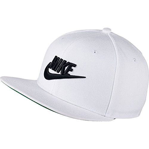 (Nike Mens Pro Futura Snapback Hat White/Pine Green/Black 891284-100)