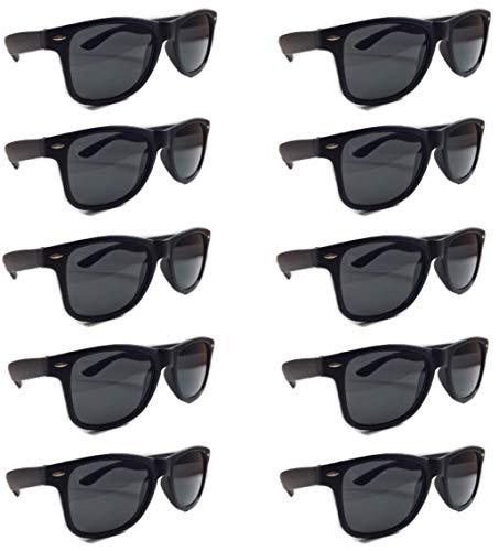 BULK SUNGLASSES Wholesale 10 Pack Matte Black- Wholesale Unisex 80's retro Wayfarer Style Party Sunglasses Bulk Lot ()