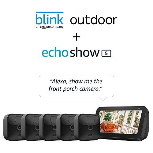 Echo Show 5 (Charcoal) with All-new Blink Outdoor- 5 camera kit