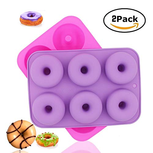 2-pack Donut charola para hornear, molde de silicona Donut molde Donut antiadherente sartenes/horno/microondas/congelador...