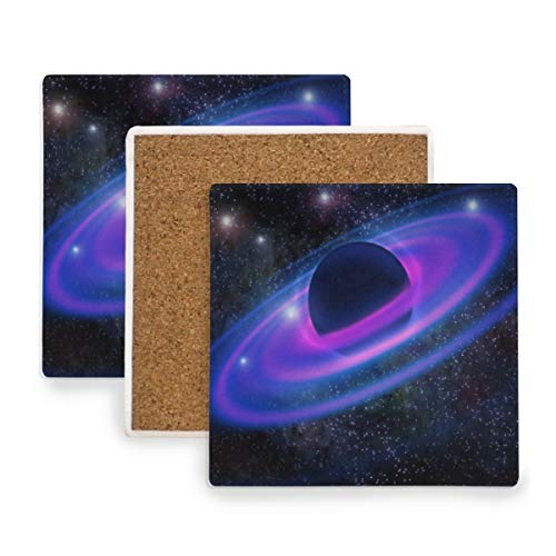 Space Neon Rings Planet Galaxy Ceramic Coasters for Drinks,Square 4 Piece Coaster Set