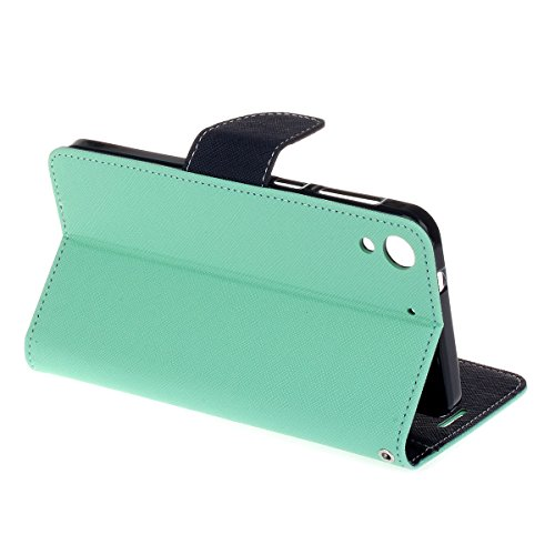HTC Desire 728 funda,COOLKE Dos Colores Funda Carcasa Cuero Tapa Case Cover Para HTC Desire 728 Dual Sim (5.5) - púrpura Menta