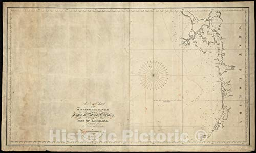 (Vintage Map | 1821 A new chart of the Mississippi River, the coast of west Florida, and part of Louisiana | Vintage Wall Art | 60in x 36in)