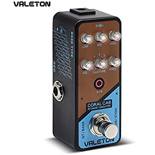 Valeton IR Cabinet Simulator Coral Cab of 28 Guitar Bass Cabs Throughout History of Rock N' Roll for Stage Performance and Home Studio Recording