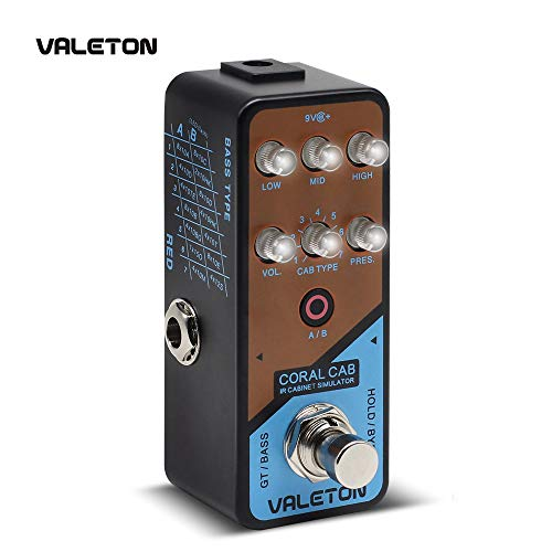 Valeton IR Cabinet Simulator Coral Cab of 28 Guitar Bass Cabs Throughout History of Rock N' Roll for Stage Performance and Home Studio -