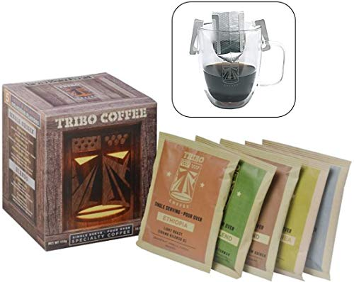 (Tribo Coffee Single-Serve Portable Pour Over Drip Coffee - Specialty Grade - Variety - 10 Servings Per Box (Light, Medium & Med-Dark Roasts))